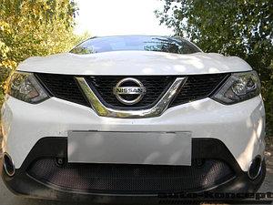 Защита радиатора Nissan Qashqai 2014- black с парктроником