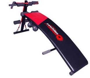 Тренажер скамья для пресса с гантелями и эспандером
