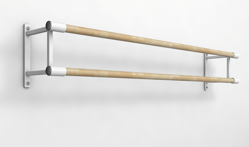 Балетный станок двухрядный настенный 2м-2,6 м