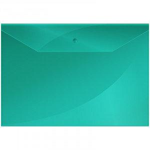 Папка-конверт на кнопке А4 OfficeSpace, 150мкм, зеленая