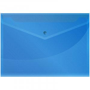 Папка-конверт на кнопке А4 OfficeSpace, 150мкм, синяя, фото 2