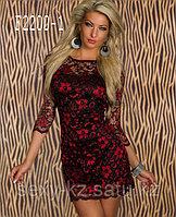 Ажурное красно-черное платье