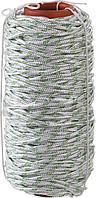 Плетёный капроновый 16-прядный фал с капроновым сердечником, диаметр 8мм, бухта 100м, 1000кгс СИБИН 50220-08