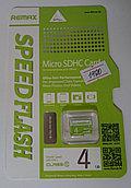 Карты Micro SD  REMAX 4ГБ