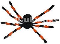 Паук декоративный для Хэллоуина d 70 см оранжевый