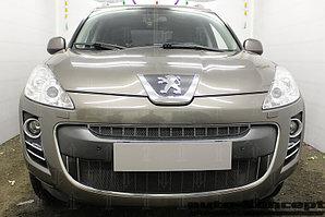 Защита радиатора Peugeot 4007 2007-2013 black верх