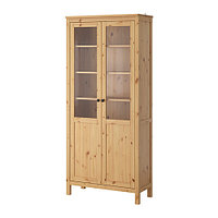 Шкаф с глух/стекл дверц ХЕМНЭС светло-коричневый ИКЕА, IKEA, фото 1