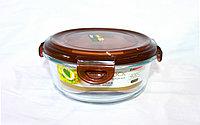 Контейнер для еды, стеклянный, круглый, D 17 см