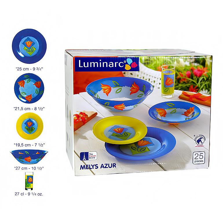 Столовый сервиз Luminarc Melys Azur 25 предметов на 6 персон