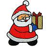 """Наклейка на стекло """"Дед Мороз несёт подарок"""", 11,5 см × 15 см"""