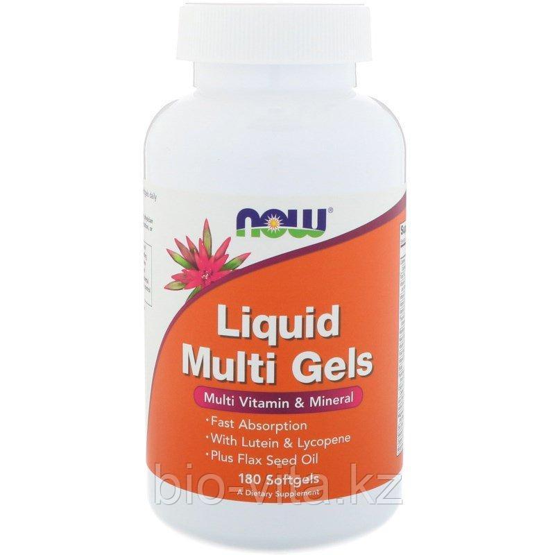 Now Foods, Жидкие мультивитамины + мультиминералы в капсулах, 180 капсул. По 1 в день.