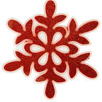 "Наклейка на стекло ""Красная блестящая снежинка"""
