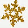 """Наклейка на стекло """"Золотая снежинка с белым контуром"""" ,15,5 см × 15,5 см"""