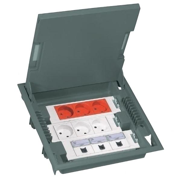 Напольная коробка, горизонтальная, 12 модулей, крышка из стали с анти-коррозионным покрытием, цвет серый