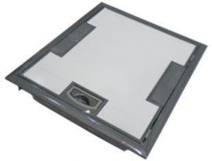 Напольная коробка, вертикальная, 10 модулей, крышка из стали с анти-коррозионным покрытием, цвет серый
