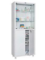 Шкаф двустворчатый медицинский MD 2 1670/SG, 2 мет., 2 стек. двери, 2 стек. и 2 мет. полки