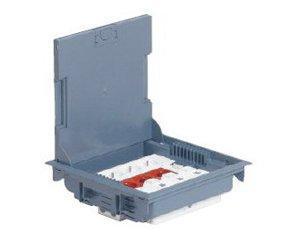 Напольная коробка, горизонтальная, 10 модулей, крышка под ковровое/паркетное покрытие, цвет серый