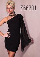 Черное платье на одно плечо.длинный шифоновый рукав на плече цветок