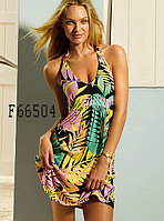 Черное летнее платье с разноцветным рисунком
