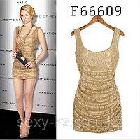 Вечернее золотое мини платье без рукавов