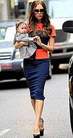 Коктейльное платье от Виктории Бекхэм оранжево-синее
