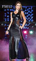 Длинное черное вечернее платье латекс-сектка