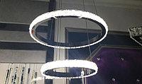 """Хрустальная стальная led люстра """"два кольца"""" на 15-20 квадратов комнату."""