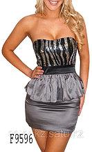 Серебристое сексуальное,вечернее платье с блестками