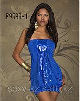 Синее молодежное,клубное платье с блестками