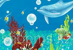 Шторка для ванной комнаты 180 х 180 (ткань) дельфины на дне