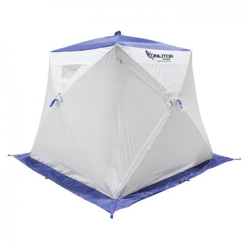 """Палатка """"Призма Люкс"""" 200, 2-слойная, с 1 входом, цвет бело-синий"""