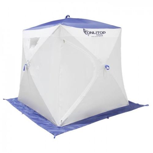 """Палатка """"Призма Люкс"""" 170, 2-слойная, цвет бело-синий"""