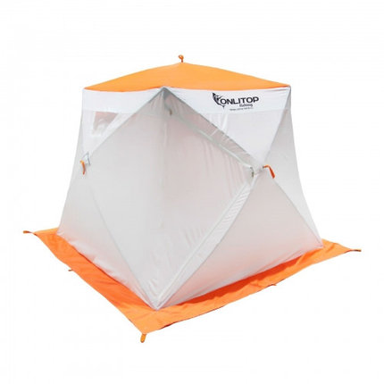 """Палатка """"Призма Люкс"""" 200, 2-слойная, с 1 входом, цвет бело-оранжевый, фото 2"""