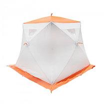 """Палатка """"Призма Люкс"""" 200, 2-слойная, с 1 входом, цвет бело-оранжевый, фото 3"""