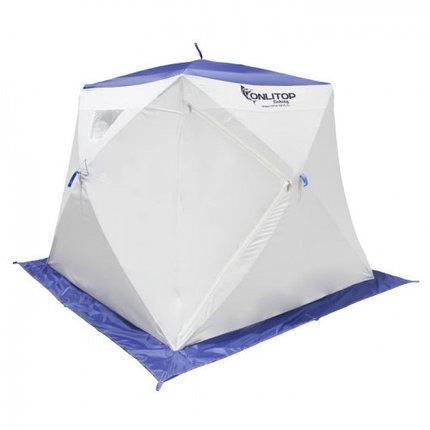 """Палатка """"Призма Люкс"""" 200, 2-слойная, с 2 входами, цвет бело-синий, фото 2"""
