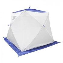 """Палатка """"Призма Люкс"""" 200, 2-слойная, с 2 входами, цвет бело-синий, фото 3"""