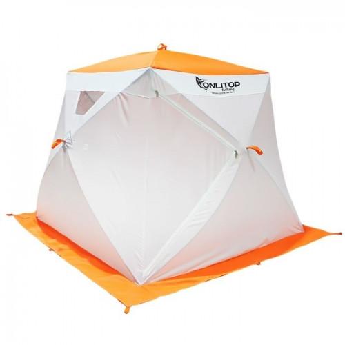 """Палатка """"Призма Люкс"""" 200, 1-слойная, с 2 входами, цвет бело-оранжевый"""