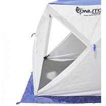 """Палатка """"Призма Люкс"""" 200, 1-слойная, с 2 входами, цвет бело-синий, фото 3"""