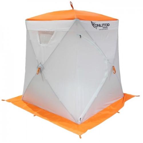 """Палатка """"Призма Люкс"""" 150, 3-слойная, цвет бело-оранжевый"""