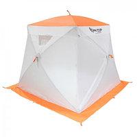 """Палатка """"Призма Люкс"""" 200, 3-слойная, с 2 входами, цвет бело-оранжевый"""