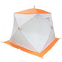 """Палатка """"Призма Люкс"""" 200, 3-слойная, с 2 входами, цвет бело-оранжевый, фото 3"""