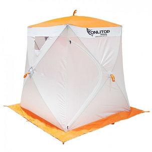 """Палатка """"Призма Люкс"""" 150, 1-слойная, цвет бело-оранжевый, фото 2"""