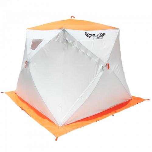 """Палатка """"Призма Люкс"""" 200, 3-слойная, с 1 входом, цвет бело-оранжевый"""