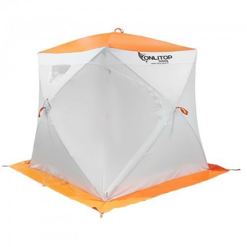"""Палатка """"Призма Люкс"""" 170, 3-слойная, цвет бело-оранжевый"""