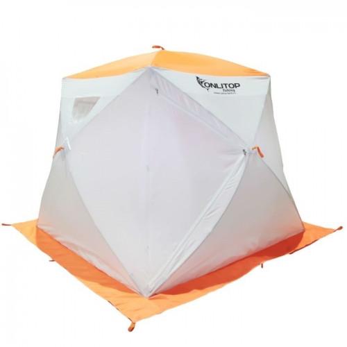 """Палатка """"Призма Люкс"""" 200, 2-слойная, с 2 входами, цвет бело-оранжевый"""