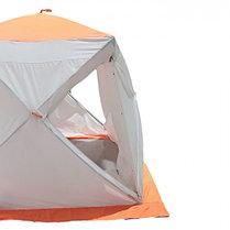 """Палатка """"Призма Люкс"""" 200, 2-слойная, с 2 входами, цвет бело-оранжевый, фото 2"""