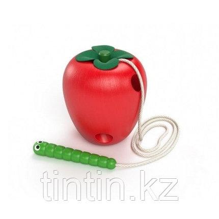 """Деревянная шнуровка """"Яблоко"""", 8 см, фото 2"""