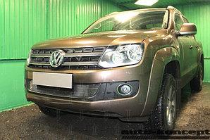 Защита радиатора Volkswagen Amarok 2010-2016 (с 2-мя горизонтальными ребрами жесткости) black
