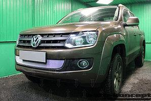 Защита радиатора Volkswagen Amarok 2010-2016 (с 2-мя горизонтальными ребрами жесткости) chrome
