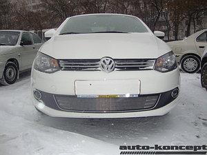Защита радиатора Volkswagen Polo седан 2010-2015 black